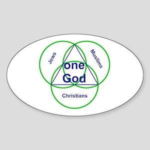 Three Religions under One God Oval Sticker