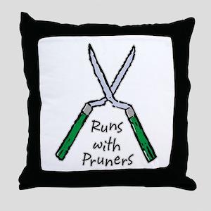 Runs with Pruners Throw Pillow