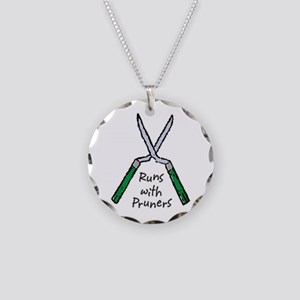 Runs with Pruners Necklace Circle Charm