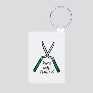 Runs with Pruners Aluminum Photo Keychain