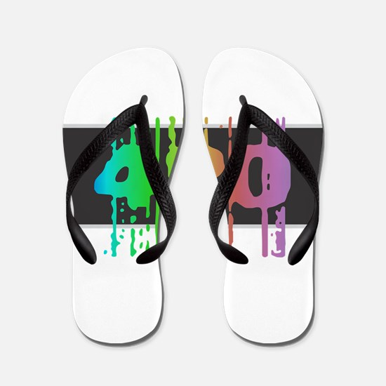 420 - Black Rainbow Flip Flops