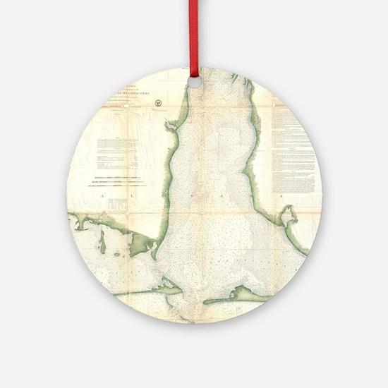 Vintage Map of Mobile Bay Alabama ( Round Ornament