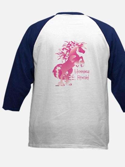 Horses Rock Pink Kids Baseball Jersey