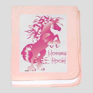 Horses Rock Pink baby blanket