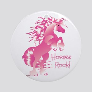 Horses Rock Pink Ornament (Round)