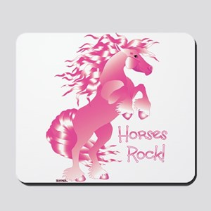 Horses Rock Pink Mousepad