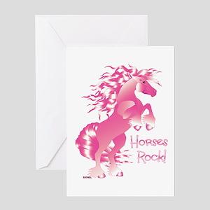 Horses Rock Pink Greeting Card
