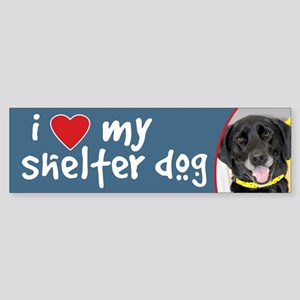 I Love My Shelter Dog Black Lab Bumper Sticker