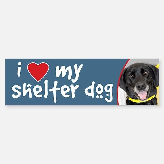 I Love My Shelter Dog Black Lab Bumper Bumper Bumper Sticker