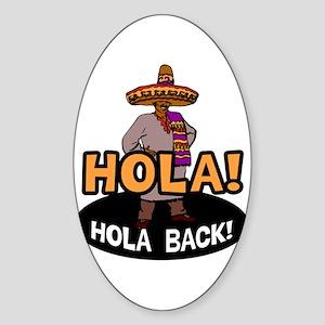 Hola Back Oval Sticker