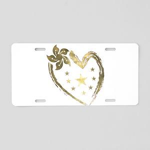 Golden heart floral stars Aluminum License Plate