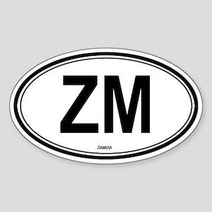 Zambia (ZM) euro Oval Sticker