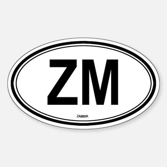 Zambia (ZM) euro Oval Decal