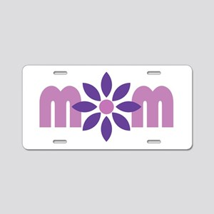 Flower Mom Aluminum License Plate