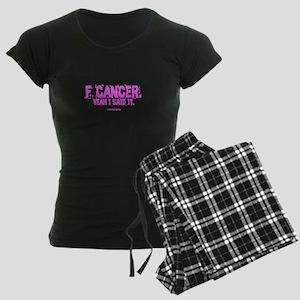"Pink ""F"" Cancer Women's Dark Pajamas"