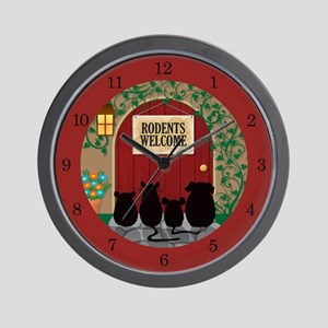 Rodents Welcome Wall Clock (red)