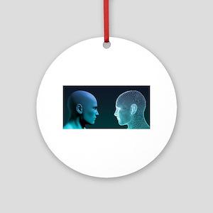 Man vs Machine Competing in Round Ornament