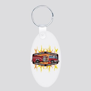 Fire Engine Truck Aluminum Oval Keychain