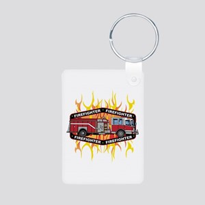 Fire Engine Truck Aluminum Photo Keychain