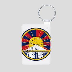 Free Tibet Grunge Aluminum Photo Keychain