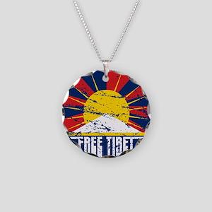 Free Tibet Grunge Necklace Circle Charm