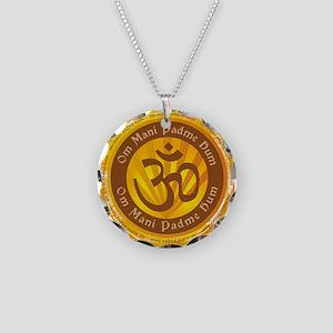 Tibetan Mantra Om Symbol Necklace Circle Charm