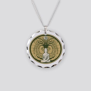 Buddha and the Bodhi Tree Necklace Circle Charm