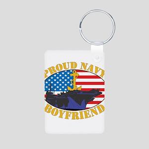 Proud Navy Boyfriend Aluminum Photo Keychain