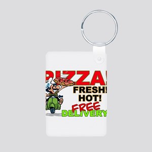 Pizza Sign Aluminum Photo Keychain