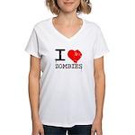 I Heart Zombies Women's V-Neck T-Shirt
