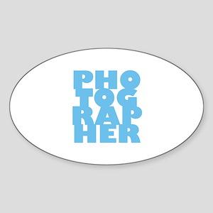 photographer (blue) Sticker (Oval)