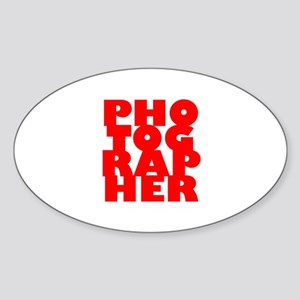 photographer (red) Sticker (Oval)