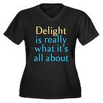 Delight Women's Plus Size V-Neck Dark T-Shirt