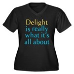 Delight Women's Plus Size V-Neck Dark T-Shirt