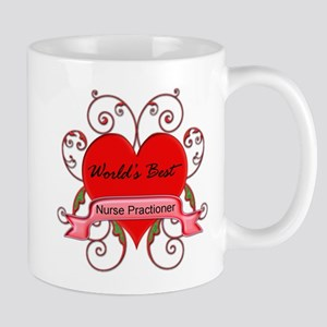 Worlds Best Nurse Practioner with heart Mugs