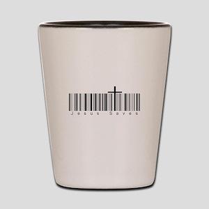 Bar Code Jesus Saves Shot Glass