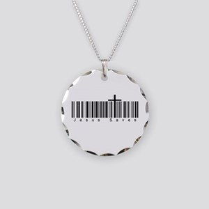 Bar Code Jesus Saves Necklace Circle Charm