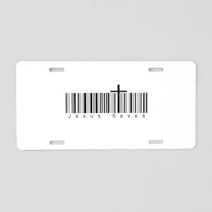 Bar Code Jesus Saves Aluminum License Plate