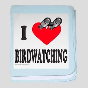 I HEART BIRDWATCHING baby blanket