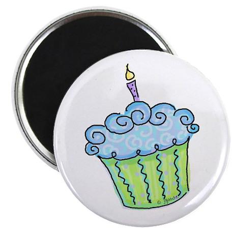 """Cute Cupcake (blue) 2.25"""" Magnet (10 pack)"""