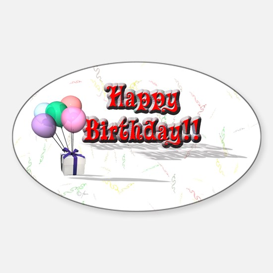 Happy birthday balloon Oval Decal