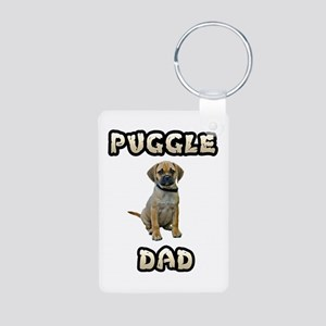 Puggle Dad Aluminum Photo Keychain