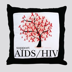 AIDS/HIV Tree Throw Pillow