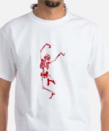 The Dancing Skeleton White T-Shirt