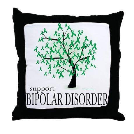 Bipolar Disorder Tree Throw Pillow