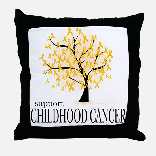 Childhood Cancer Tree Throw Pillow