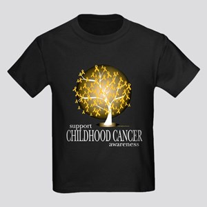 Childhood Cancer Tree Kids Dark T-Shirt