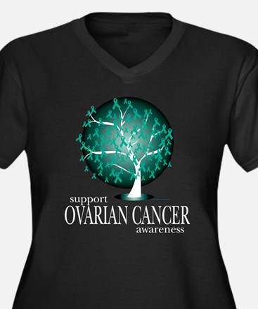 Ovarion Cancer Tree Women's Plus Size V-Neck Dark