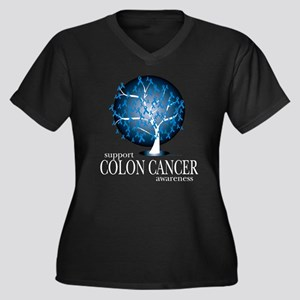 Colon Cancer Tree Women's Plus Size V-Neck Dark T-