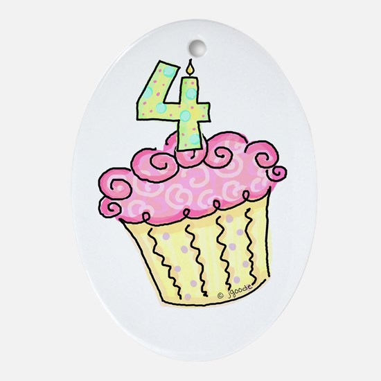 4th Birthday Cupcake Oval Ornament